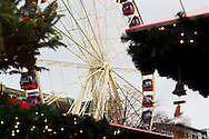Edinburgh Winter Market. Shops And Huts In Foreground And Ferris Wheel In Background.