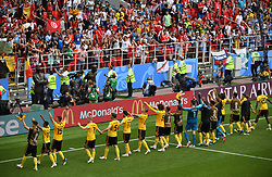 MOSCOW, June 23, 2018  Players of Belgium greet the audience after the 2018 FIFA World Cup Group G match between Belgium and Tunisia in Moscow, Russia, June 23, 2018. Belgium won 5-2. (Credit Image: © Wang Yuguo/Xinhua via ZUMA Wire)