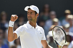 LONDON, July 16, 2018  Novak Djokovic of Serbia reacts during the men's singles final match against Kevin Anderson of South Africa at the Wimbledon Championships 2018 in London, Britain, on July 15, 2018. Novak Djokovic won 3-0. (Credit Image: © Stephen Chung/Xinhua via ZUMA Wire)