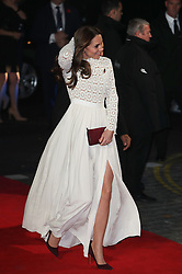 The Duchess of Cambridge arrives for the world premiere of A Street Cat Named Bob, at Curzon cinema in Mayfair, London.
