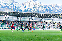 06.04.2019, Tivoli Stadion Tirol, Innsbruck, AUT, 1. FBL, FC Wacker Innsbruck vs SK Rapid Wien, Qualifikationsgruppe, 24. Spieltag, im Bild v.l. Marvin Potzmann (SK Rapid Wien), Sascha Horvath (FC Wacker Innsbruck), Christian Klem (FC Wacker Innsbruck), Thomas Murg (SK Rapid Wien) // during the tipico Bundesliga qualification group, 24th round match between FC Wacker Innsbruck and SK Rapid Wien at the Tivoli Stadion Tirol in Innsbruck, Austria on 2019/04/06. EXPA Pictures © 2019, PhotoCredit: EXPA/ Stefan Adelsberger