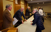 Former Mayors Karl Reitz,  Paul Fitzgerald and Rod Dyer following the Laconia Mayors Symposium at the Laconia Library sponsored by the Laconia Historical and Museum Society on Tuesday evening.  (Karen Bobotas/for the Laconia Daily Sun)