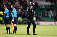 29/07/15 UEFA CHAMPIONS LEAGUE 3RD RND QUALIFIER 1ST LEG<br /> CELTIC v QARABAG FK<br /> CELTIC PARK - GLASGOW<br /> Celtic manager Ronny Deila applauds the fans at full-time