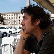 """Rome, Italy, April 18, 2013. Alessandro Veronesi, Italian writer, author of """"Caos Calmo"""" and """"Baci scagliati altrove""""."""