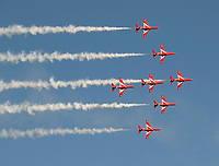 The Red Arrows  flying over the Isle Of Wight Festival 2021 photo by Dawn Fletcher Park