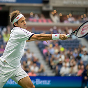 2019 US Open Tennis Tournament- Day Three. Roger Federer of Switzerland in action against Damir Dzumhur of Bosnia and Herzegovina in the Men's Singles Round Two match on Arthur Ashe Stadium at the 2019 US Open Tennis Tournament at the USTA Billie Jean King National Tennis Center on August 27th, 2019 in Flushing, Queens, New York City.  (Photo by Tim Clayton/Corbis via Getty Images)