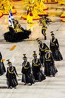Carnaval parade of Unidos da Ponte samba school in the Sambadrome, Rio de Janeiro, Brazil.