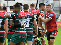 Rugby Union - 2019 / 2020 Gallagher Premiership - Gloucester vs Leicester Tigers<br />      ,.<br />  Zack Henry of Leicester Tigers&  Jordan Taufua of Leicester Tigers commiserate after losing the game<br /> in a match played with no crowd due to Covid 19 coronavirus emergency regulations, in an almost empty ground, at tKingsholm<br /> <br /> COLORSPORT/WINSTON BYNORTH