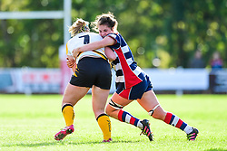 Amy Cokayne of Wasps Ladies is tackled by Poppy Leitch of Bristol Ladies  - Mandatory by-line: Craig Thomas/JMP - 28/10/2017 - RUGBY - Cleve RFC - Bristol, England - Bristol Ladies v Wasps Ladies - Tyrrells Premier 15s