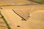 Aerial photograph of corn harvest in rural, southwest Wisconsin.