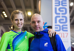 Anita Horvat of Slovenia and her coach Rok Predanic after she competed in the Women's 400 metres heats on day one of the 2017 European Athletics Indoor Championships at the Kombank Arena on March 3, 2017 in Belgrade, Serbia. Photo by Vid Ponikvar / Sportida