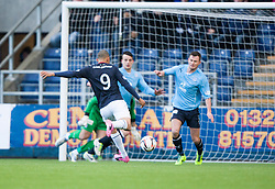 Falkirk's Phil Roberts has a shot.<br /> Falkirk 2 v 0 Dundee, Scottish Championship game at The Falkirk Stadium.<br /> © Michael Schofield.