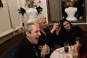 NICK RHODES; AMANDA ELIASCH, NEFER SUVIO; , Nicky Haslam hosts dinner at  Gigi's for Leslie Caron. 22 Woodstock St. London. W1C 2AR. 25 March 2015