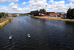 General view across the river Trent towards the ground ahead of the pre-season friendly match at the City Ground, Nottingham