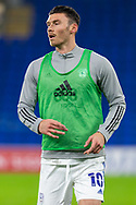 Cardiff City's Kieffer Moore (10) during the pre-match warm-up at the EFL Sky Bet Championship match between Cardiff City and Barnsley at the Cardiff City Stadium, Cardiff, Wales on 3 November 2020.