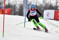 KHOROSHEVA Anastasiia LW9-2 NPA competing in the ParaSkiAlpin, Para Alpine Skiing, Slalom at the PyeongChang2018 Winter Paralympic Games, South Korea.