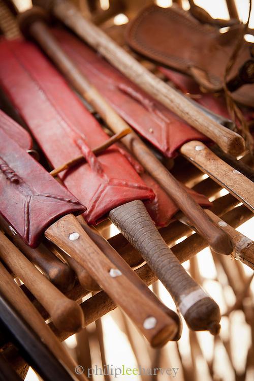 Handmade knives for sale at a Maasai village near Amboseli National Park, Kenya