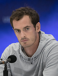 August 29, 2018 - Flushing Meadows, New York, U.S - Andy Murray during a press conference after losing his match against Fernando Verdasco on Day 3 of the 2018 US Open at USTA Billie Jean King National Tennis Center on Wednesday August 29, 2018 in the Flushing neighborhood of the Queens borough of New York City. Verdasco defeats Murray 7-5, 2-6, 6-4, 6-4. (Credit Image: © Prensa Internacional via ZUMA Wire)
