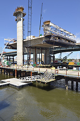 Pearl Harbor Memorial Bridge, New Haven Harbor Crossing Corridor, Interstate 95 in CT. Construction of Connecticut Department of Transportation Contract B as seen on September 9, 2011. New Northbound Span, Progress of the Replacement Bridge. When complete this will be the first Extradosed Bridge in the United States. This view includes Traveling Formwork, Eastern Towers, cranes and platforms.