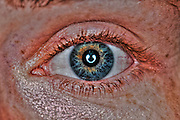 Extreme closeup of a human eye green