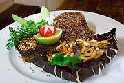 """Berlin, Germany. Mädchen ohne Abitur restaurant. """"die rote laterne von kalkutta"""" - the red lantern of calcutta: tandoori tuna with red rice, sweet & spicy cabbage-carrot-nut salad<br />and rati (cilantro lemon yoghurt)."""