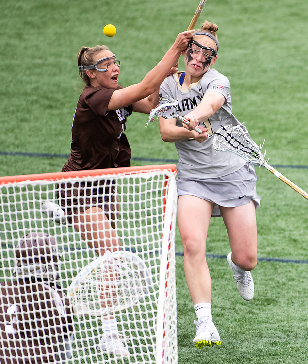 Caroline Raymond of the Army Black Knights and Sondra Dickey of the Lehigh Mountain Hawks during the Patriot League women's lacrosse quarterfinal lacrosse game between the Army Black Knights and Lehigh Mountain Hawks at Michie Stadium on April 28, 2019 in West Point, NY.