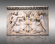 Roman marble sculptured relief with cupids about to sacrifice bulls, from the Temple of Venus Genetrix in the Forum of Caesar Rome 30 AD , inv 6718 Farnese Collection, Naples Archaeological Museum .<br /> <br /> If you prefer to buy from our ALAMY STOCK LIBRARY page at https://www.alamy.com/portfolio/paul-williams-funkystock/greco-roman-sculptures.html . Type -    Naples    - into LOWER SEARCH WITHIN GALLERY box - Refine search by adding a subject, place, background colour, etc.<br /> <br /> Visit our ROMAN WORLD PHOTO COLLECTIONS for more photos to download or buy as wall art prints https://funkystock.photoshelter.com/gallery-collection/The-Romans-Art-Artefacts-Antiquities-Historic-Sites-Pictures-Images/C0000r2uLJJo9_s0