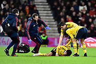 Hector Bellerin (2) of Arsenal down injured after clashing with Jack Simpson (25) of AFC Bournemouth during the The FA Cup match between Bournemouth and Arsenal at the Vitality Stadium, Bournemouth, England on 27 January 2020.