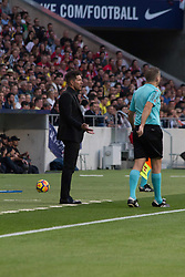 October 28, 2017 - Madrid, Spain - Simeone (coach of Atletico de Madrid) complains..Draw at 1 in Wanda Metropolitano stadium. (Credit Image: © Jorge Gonzalez/Pacific Press via ZUMA Wire)