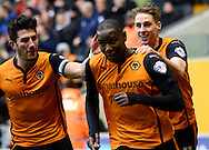 Benik Afobe celebrates goal during the Sky Bet Championship match between Wolverhampton Wanderers and Reading at Molineux, Wolverhampton, England on 7 February 2015. Photo by Alan Franklin.