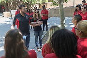 Patrick Arite and Monica Nezzer talk with prospective students while giving a campus tour on Thursday June 2, 2016. Arite and Nezzers are both students at the University of New Mexico and are working 15-30 hours per week giving campus tours in order to help put themselves through college. (Steven St. John for NPR)