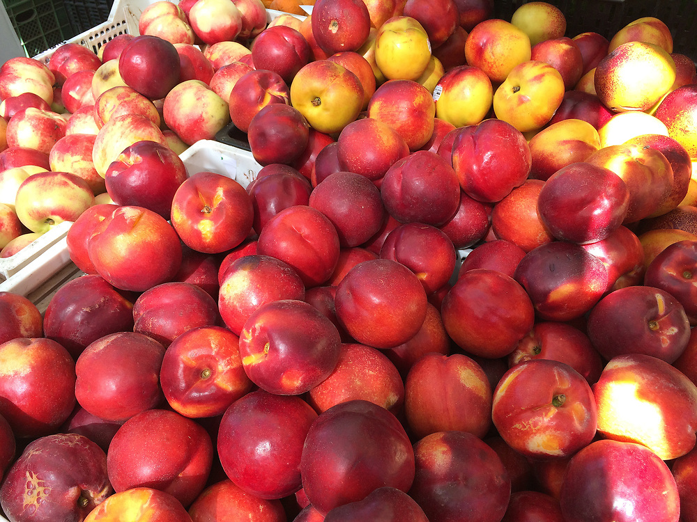 Peaches in a farmers market in Chile