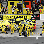 Matt Kenseth faces the wrong direction on pit row after he gets spun around in his pit stall during the 56th Annual NASCAR Daytona 500 practice session at Daytona International Speedway on Saturday, February 22, 2014 in Daytona Beach, Florida.  (AP Photo/Alex Menendez)