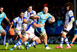 Matt Kvesic of Exeter Chiefs is tackled by Maama Vaipulu of Castres Olympique - Mandatory by-line: Ryan Hiscott/JMP - 13/01/2019 - RUGBY - Sandy Park Stadium - Exeter, England - Exeter Chiefs v Castres - Heineken Champions Cup