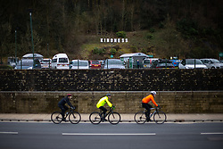 """© Licensed to London News Pictures . 19/03/2021. Todmorden , UK . The word """" KINDNESS """" , built in the style of the iconic Hollywood Hills sign , is seen above a car park by a branch of Morrisons supermarket . Exploring a year of experiences , lessons and consequences of Coronavirus in the NW of England . Photo credit : Joel Goodman/LNP"""