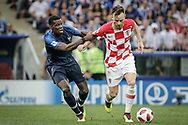 Ivan Rakitic of Croatia and Paul Pogba of France during the 2018 FIFA World Cup Russia, final football match between France and Croatia on July 15, 2018 at Luzhniki Stadium in Moscow, Russia - Photo Thiago Bernardes / FramePhoto / ProSportsImages / DPPI