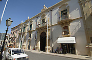 Palazzo Judica palace of justice 18th century at Corso Vittorio Emanuele III, the main street at Palazzolo Acreide, on the Monti Iblei, Province of Syracuse, Sicily, Italy, July 2006