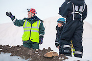 UNIS professor Doug Benn lectures Mylène Jacquemart and other students about glaciers from the foot of Tellbreen, Svalbard.