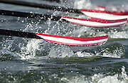 Trakai, LITHUANIA. AUT JM4X blades/oars rip through the water at the start of their heat in the men's quadruple sculls at the 2002 Junior World Rowing Championships, on Lake Galva Wednesday  07/08/2002 [Mandatory Credit: Peter Spurrier/ Intersport Images] 200208 Junior World Rowing Championships, Trakai, LITHUANIA