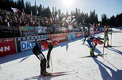 Serafin Wiestner (SUI) at finish line during Men 12,5 km Pursuit at day 3 of IBU Biathlon World Cup 2015/16 Pokljuka, on December 19, 2015 in Rudno polje, Pokljuka, Slovenia. Photo by Vid Ponikvar / Sportida