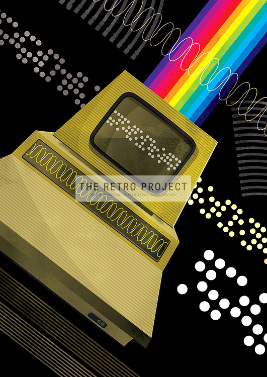 Retro computer illustration with spectrum on punched card black pattern background