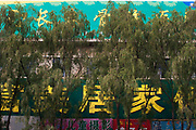 Trees in front of Chinese text advertising in De Hui, Jilin Province, China.