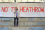 © Licensed to London News Pictures. 27/04/2013. London, UK . Justine Greening, Conservative MP, International Development Secretary, speaks at the rally. A rally against Heathrow expansion takes place today 27th April on Barn Elms Playing Field in Barns, West London.  The rally organised by MP Zac Goldsmith included Mayor of London, Boris Johnson, Cabinet Minister Justine Greening, and many other MPs, MEPs, Council Leaders, and campaigners as speakers. Photo credit : Stephen Simpson/LNP