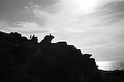 Klippor med Hoburgsgubben vid Hoburgen, Gotland sydspets
