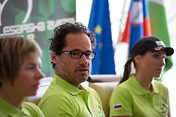 Robert Pintaric between Tanja Zakelj and Blaza Klemencic at press conference of team Slovenia before WC Masters Hajfell in Norway on August 25, 2014 in Hala Tivoli, Ljubljana, Slovenia. Photo by Matic Klansek Velej / Sportida