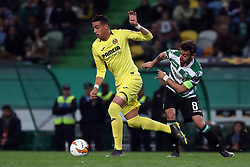 February 14, 2019 - Lisbon, Portugal - Villarreal's defender Ramiro Funes Mori vies with Sporting's midfielder Bruno Fernandes from Portugal during the UEFA Europa League Round of 32 First Leg football match Sporting CP vs Villarreal CF at Alvalade stadium in Lisbon, Portugal on February 14, 2019. (Credit Image: © Pedro Fiuza/NurPhoto via ZUMA Press)
