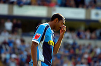 Photo: Alan Crowhurst.<br />Wycombe Wanderers v Lincoln City. Coca Cola League 2. 23/09/2006. Wycombe's Kevin Betsy can't believe he's just rounded the keeper only to miss the open goal.