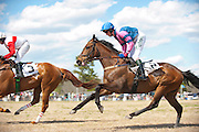 2  April, 2011:  Eventual winner GOOD REQUEST and Paddy Young gallop through the stretch the first time around the course in the Woodward Kirkover hurdle race.