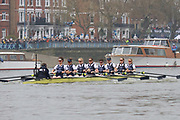 The Women's Boat Race.<br /> <br /> Oxford crew: Isobel Dodds, Anna Murgatroyd, Renée Koolschijn, Lizzie Polgreen, Olivia Pryer, Beth Bridgman, Tina Christmann, Amelia Standing, Eleanor Shearer.<br /> Cambridge crew: Tricia Smith, Sophie Deans, Laura Foster, Larkin Sayre, Kate Horvat, Pippa Whittaker, Ida Gørtz Jacobsen, Lily Lindsay, Hugh Spaughton.<br /> <br /> The Boat Race 2019<br /> <br /> To purchase this photo, or to see pricing information for Prints and Downloads, click the blue 'Add to Cart' button at the top-right of the page.