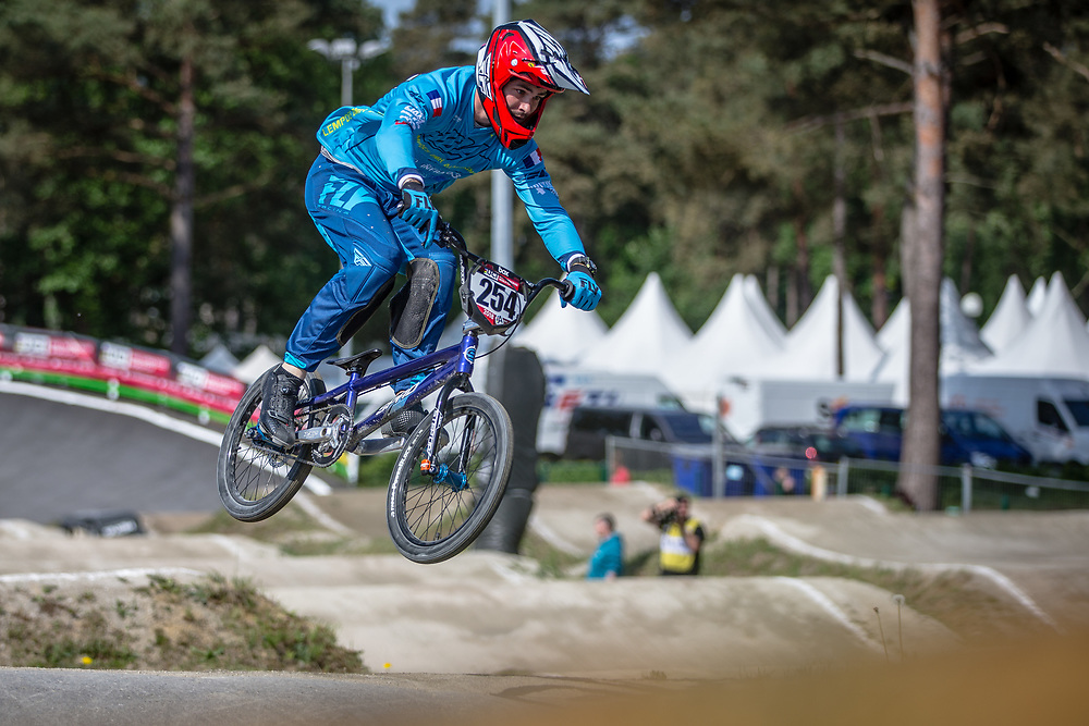 #254 (RACINE Romain) FRA during practice at Round 5 of the 2018 UCI BMX Superscross World Cup in Zolder, Belgium